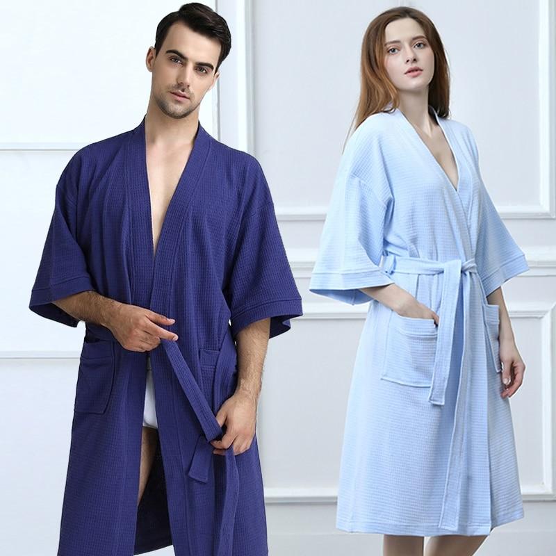 4426c5c2b9 100% Cotton Sexy Waffle Kimono Bath Robe Women Men Knee Length Towel Suck  Sweat Summer