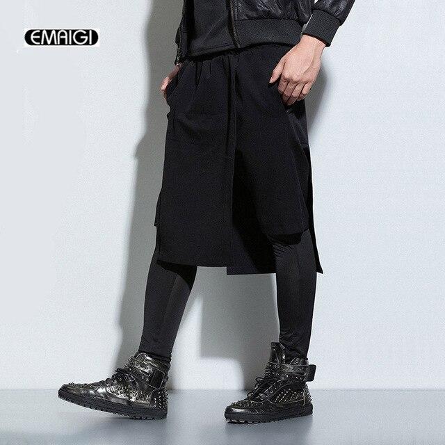 7f643e736 New Board Men Shorts Men Fashion Punk Shorts Casual skirts Short Pants men  harem Pant Male Black Street Show Pants K654