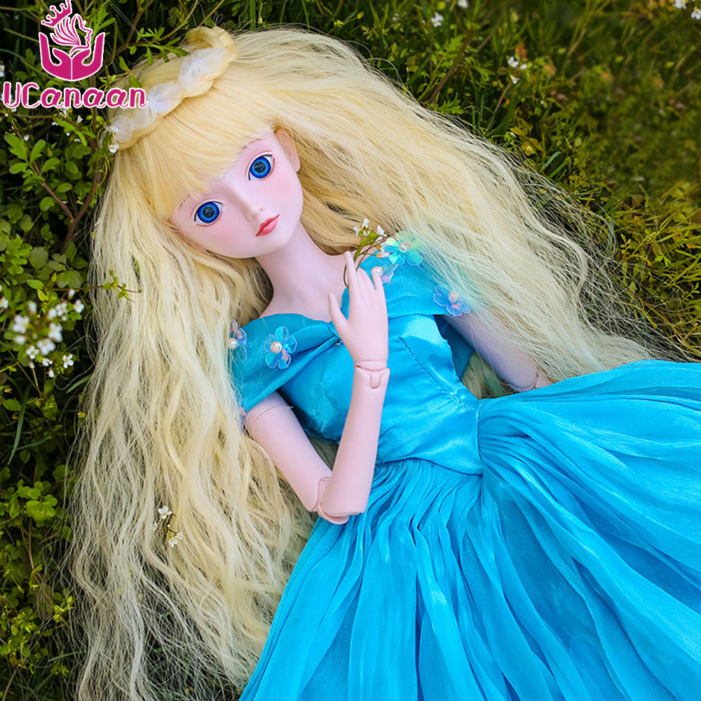 Ucanaan 1/3 BJD Doll 60CM Large Girl SD Dolls With Outfit Shoes Wigs Dress Makeup 19 Ball Joints BJD Dolls DIY Toys For Children 1 8 bjd sd doll wigs for lati dolls 15cm high temperature wire long curly synthetic hair for dolls accessorries high quality wig