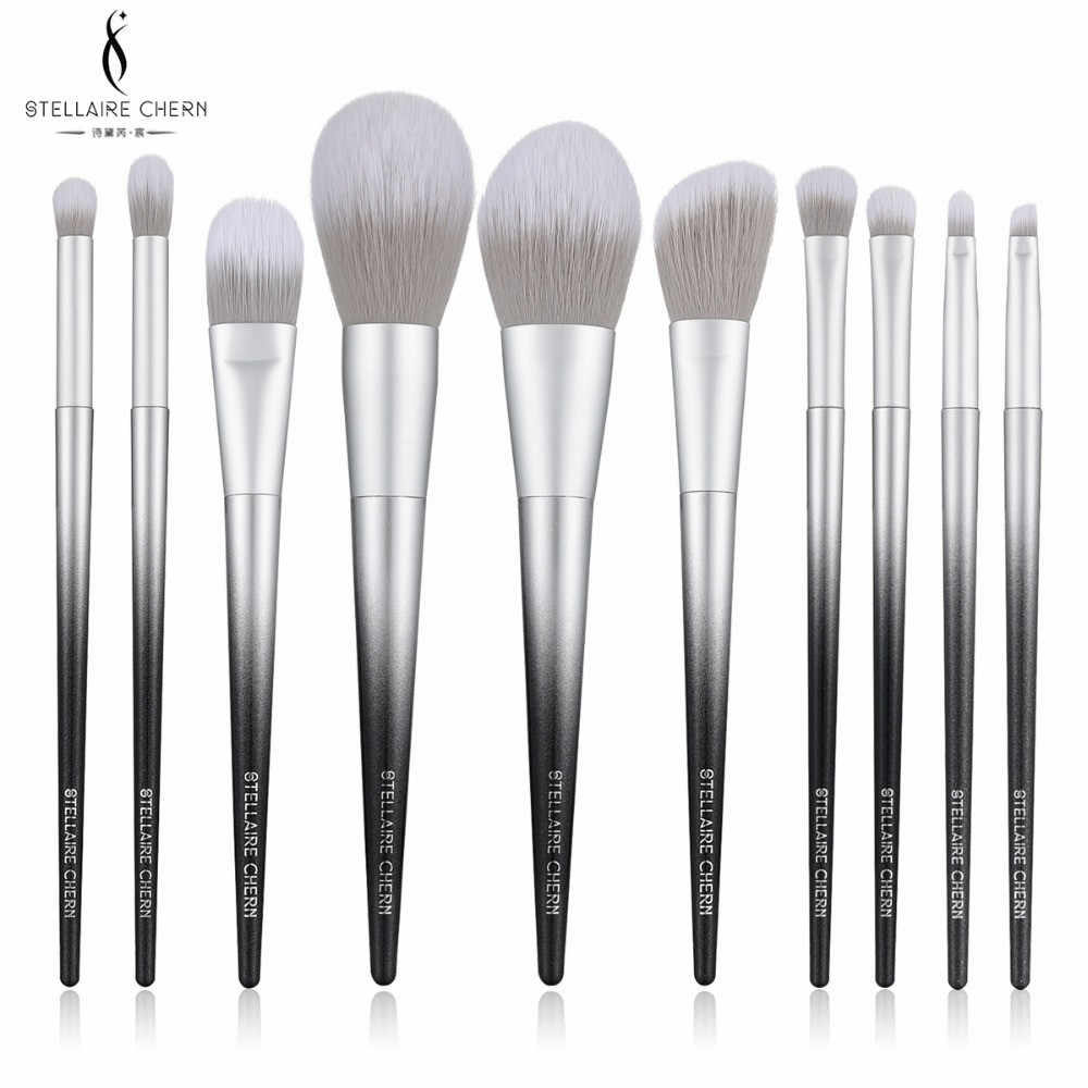 SC Pro 10pcs Makeup bruches Set Soft Synthetic Collection Kit with Powder  Contour Eyeshadow Eyebrow black sliver make up Brushes