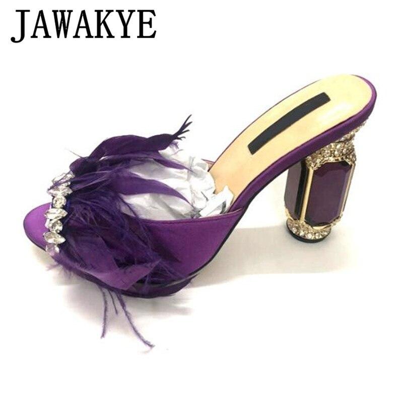 Violet plume cristal miroir talons pantoufles femmes Satin strass garniture fête dames chaussures Peep Toe Mules noir diapositives femme