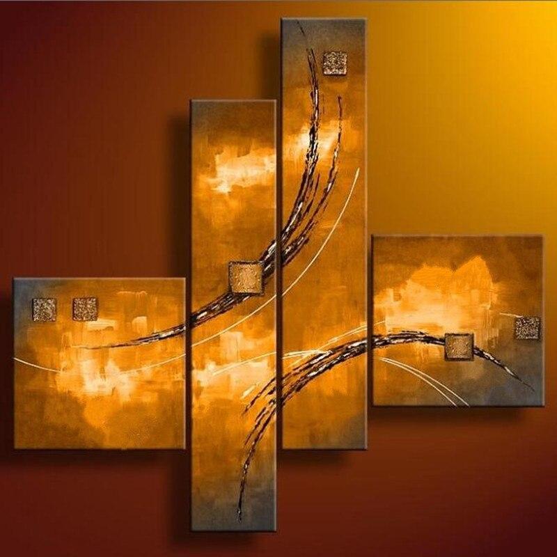Linee oro Acrilico Dipinti 4 Pannello Immagini Astratta Dipinta a mano Graffiti Pittura A Olio su Tela Della Parete Della Casa di Arte Per Soggiorno