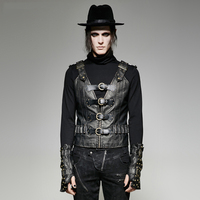 Steampunk Heavy Metal Rock Army Uniform Pu Leather Men S Vests Gothic Sleeveless V Neck Casual