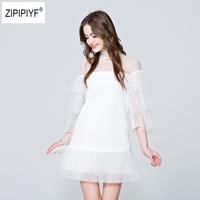 Summer Korean Splicing Pleated Multilayer Tulle Dress Women Black White Color Clothes New Fashion 2018 Sexy Short Dresses B1095