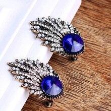 new big crystal stud earrings for women Korea pearl statement geometric Rhinestone blue cristal earrings fashion jewelry Wedding цена и фото