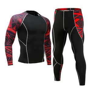 Image 5 - Mens Gym Clothing Jogging suit Compression MMA rashgard Male Long johns Winter Thermal underwear Sports suit Brand Clothing 4XL