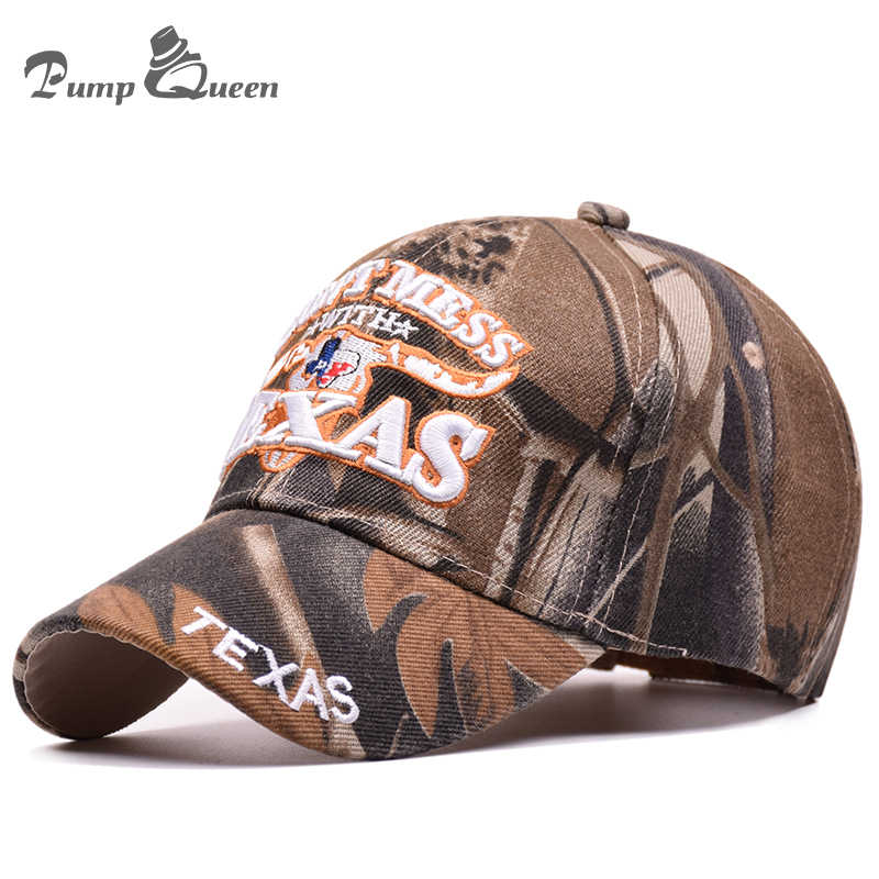 32e3f774586 Pump Queen 2018 Outdoor Sun Baseball Cap Texas Letters Embroidered Hats  Camouflage Snapback Cap For Men