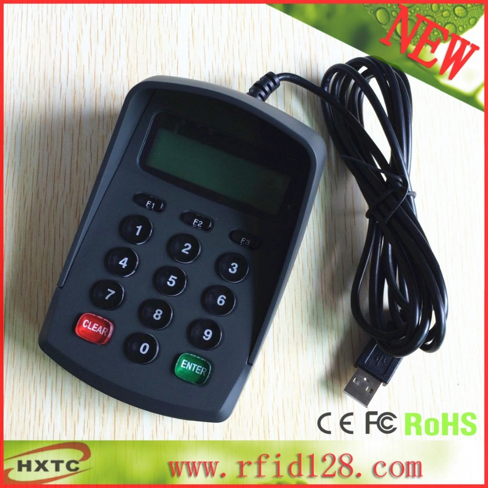 USB version with serial port emulation LCD keybord / pinpad / Numeric keypad contact card reader with pinpad numeric keypad for financial sector counters
