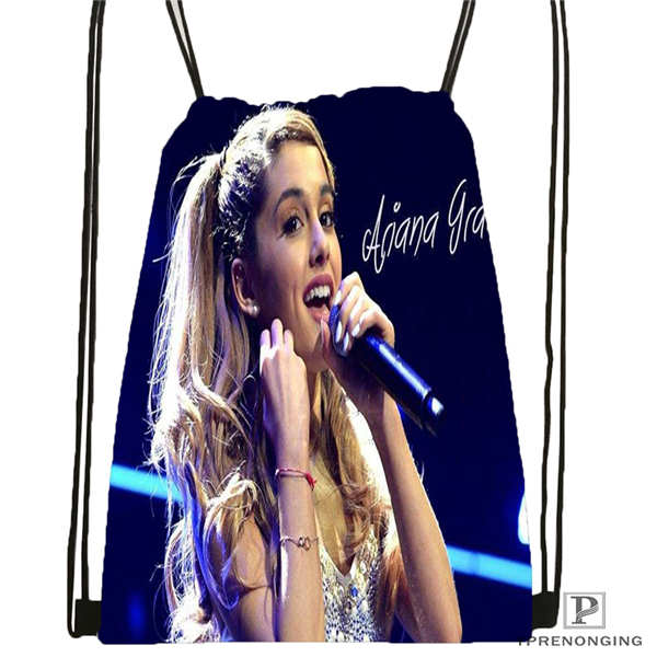 Custom Ariana Grande Drawstring Backpack Bag Cute Daypack Kids Satchel (Black Back) 31x40cm#20180611-02-58