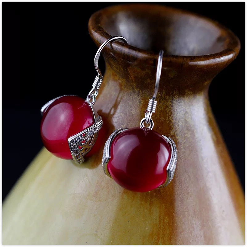 2018 New Earings Fashion Jewelry 100% 925 Sterling Garnet Drop Earrings Women Jewelry,thai Top Quality For Girl,birthday Gift top quality 2018 new fashion 100