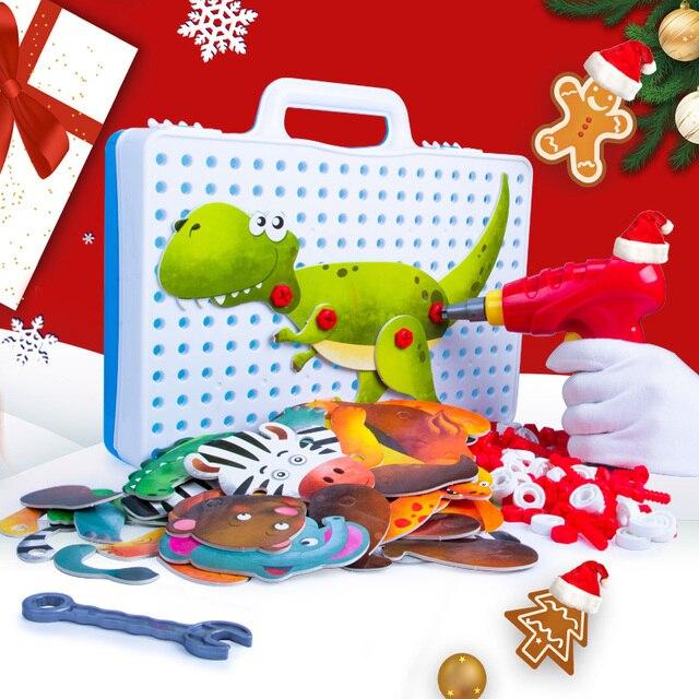 Jongen Nieuwe Kinderen Tool Speelgoed Elektrische Boor Schroeven 3D Puzzel Educatief voor Pretend Play Games Assembleren Dieren Blok Model Speelgoed