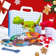 Nueva herramienta de niños para niños, tornillos de taladro eléctrico, rompecabezas 3D educativo para juegos de simulación, bloques de animales de juguete