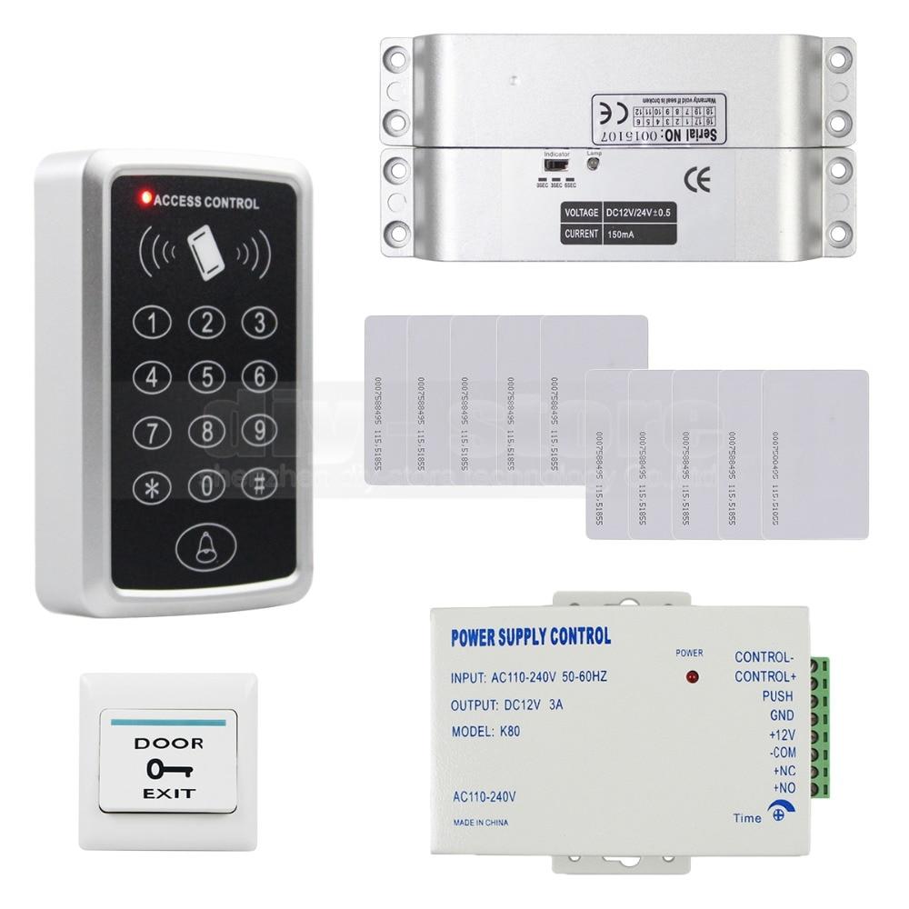ФОТО DIYSECUR 125KHz RFID Keypad Access Control Security System Full Kit Set + Electric Drop Bolt Lock Electric Mortise Lock