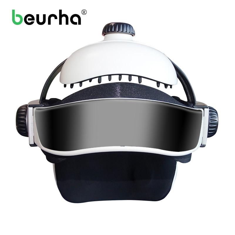 Electric Head Massager Brain Massage Helmet With Music Adjustable Head Size Instrument Household Head Massage Relaxation Device недорого