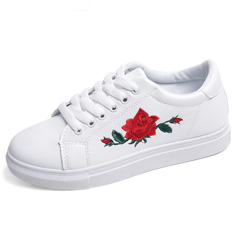 Casual Shoes Woman Fashion PU Leather Women Shoes Embroidery Rose Flats Lace-up Platform Walking Shoe Plus Size zapatos de mujer 2018 spring women flats shoe flowers embroidery shoes waterproof platform floral flats lace up casual white shoes female