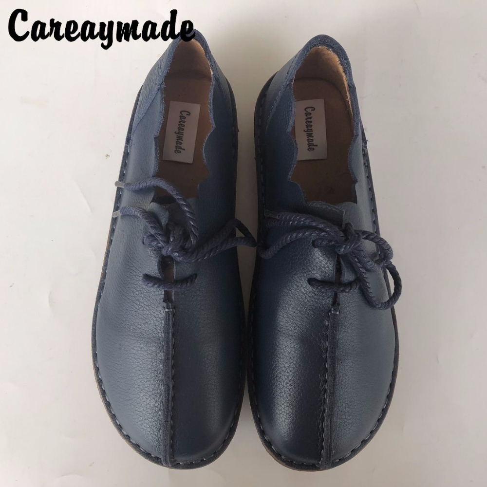 Careaymade-Spring Genuine leather shoes,Pure handmade flat shoes,Women the retro art mori girl shoes,Women fashion Casual shoes huifengazurrcs new pure handmade casual