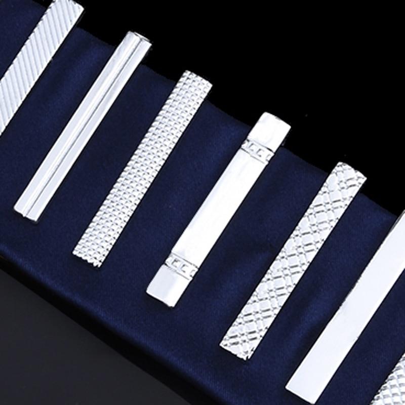 Men's Tie Clip Silver Fashion 10 Simple Short Male Collar 4cm