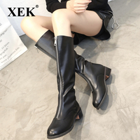XEK 2019 fashion ladies boots new personality zipper Leather boots European shoes boots comfortable women shoes ZLL672
