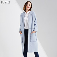 Hot Sale New Fashion Casual Cardigans Sweaters knitted Female Long Sweater Pockets Solid Woman Thick Open Stitch Nylon Sweater