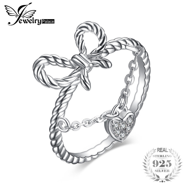 JewelryPalace Heart Cubic Zirconia Rope Kont Bow Stackable Ring 925 Sterling Sil