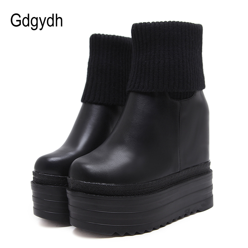 aa31731b041 Gdgydh Fashion Winter Ankle Boots Women Heel Leather PU Increasing Flat  Heels Casual Shoes Wedges Platform