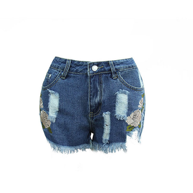 Cotton Denim High Waist Shorts embroidered floral xxl short taille haute femme cotton  academia mulheres fitness jean shorts