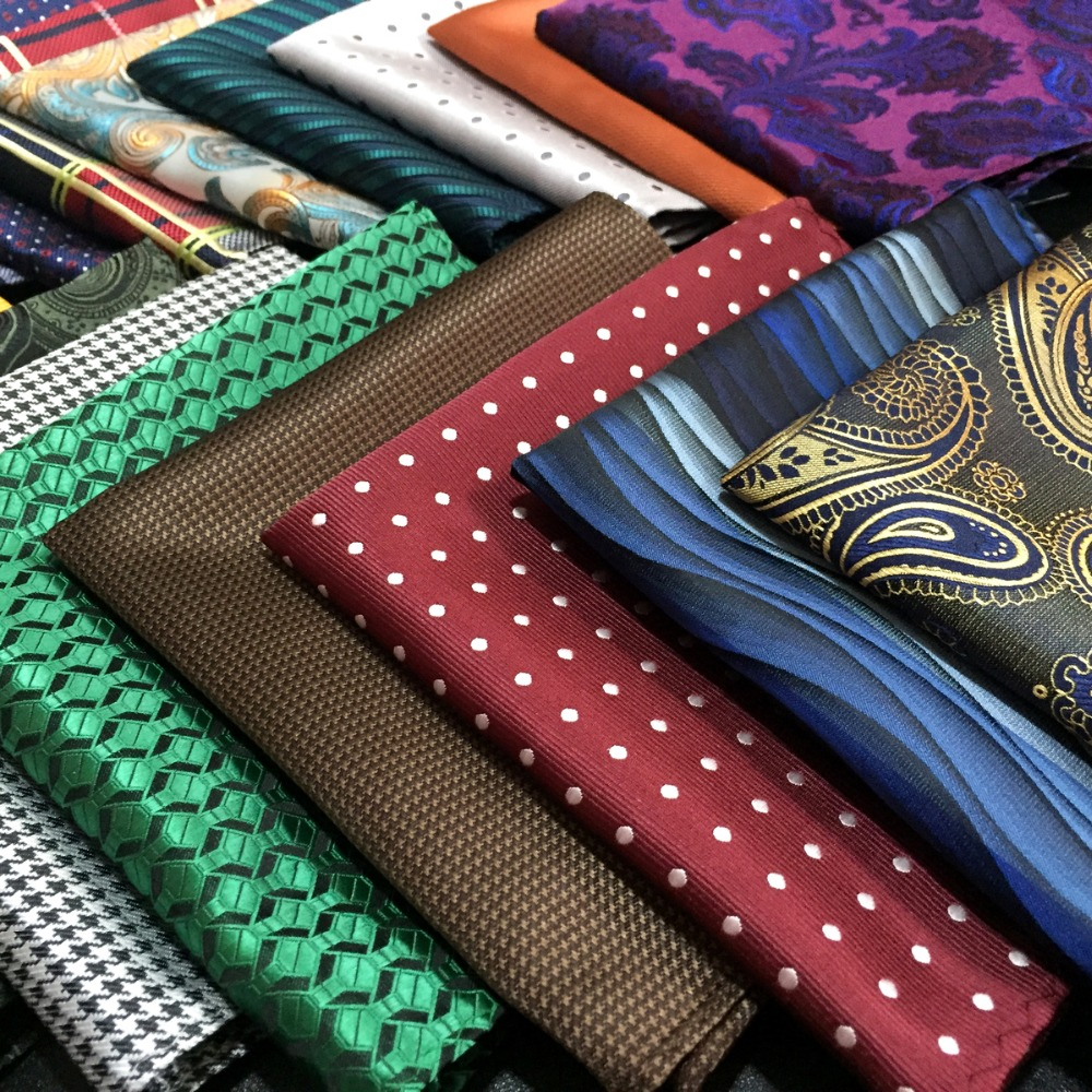 Multicolor Silk Mens Pocket Square Set Colorful Handkerchief Large 12.6