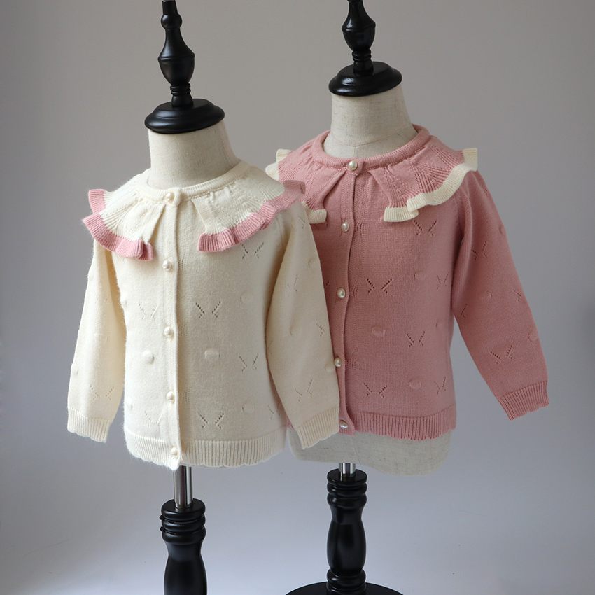 Baby Sweater 2018 Fall New Kids Cardigan Sweater Girls Casual Cute Long Sweater pink snowflake long sweater