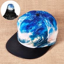1pc New Blue Wave Sample Hip Hop Cap Vogue Baseball Bboy Hats Flat Eaves Snapback Adjustable 3D Sea Surf Type for Males Ladies