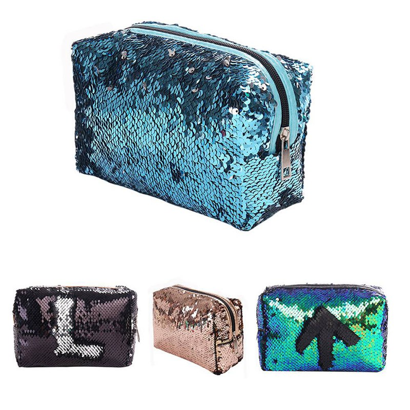 BEAU-New Sequin Cosmetic Bag Color Reversible Sequin Pencil Bags Girls Cosmetic Case Gift