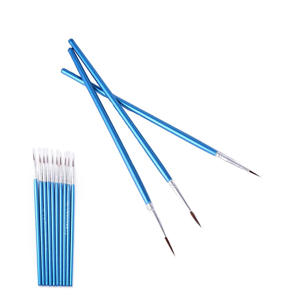 10Pcs/Set Wholesale Nylon Hair Round Painting Teacher Tools Set Hot New Brush Hook Line Pen Artist Draw Painting Craft