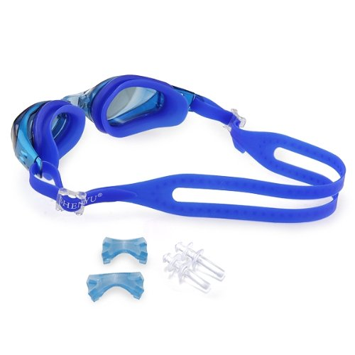 SEWS Dark Blue Waterproof Anti Fog UV font b Swim b font Goggles Eyewear Lens Glasses