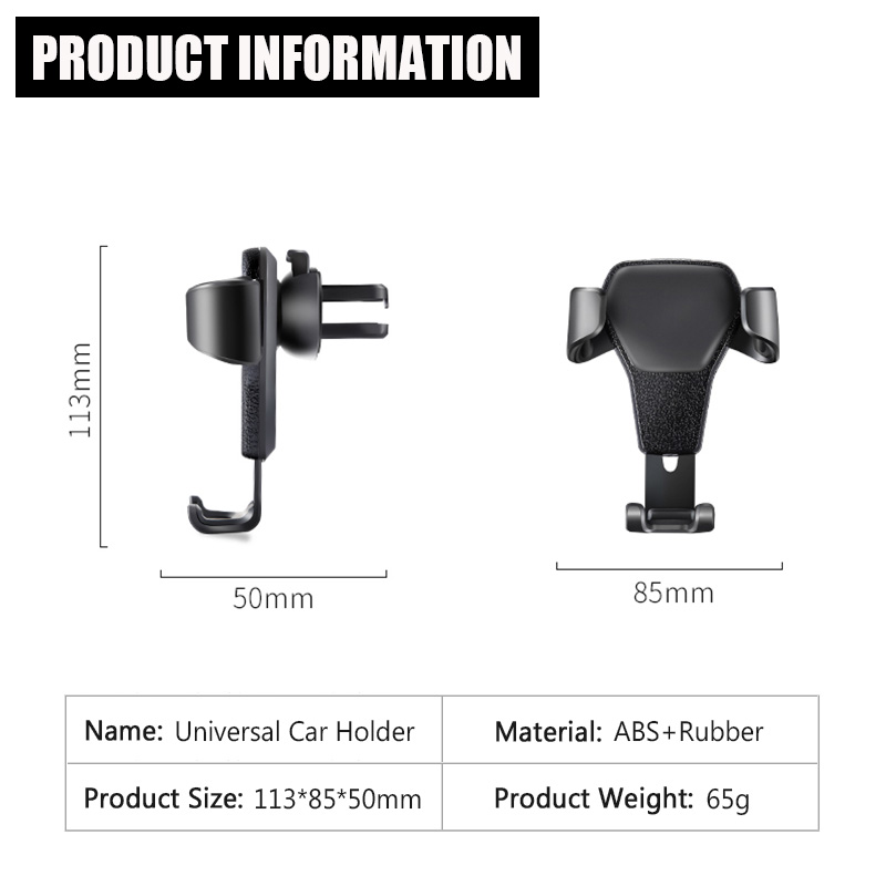 KCAR1017_6_Universal Car Phone Holder For Phone In Car Air Vent Mount Stand No Magnetic Mobile Holder Gravity Bracket for iPhone XS XR Huawei
