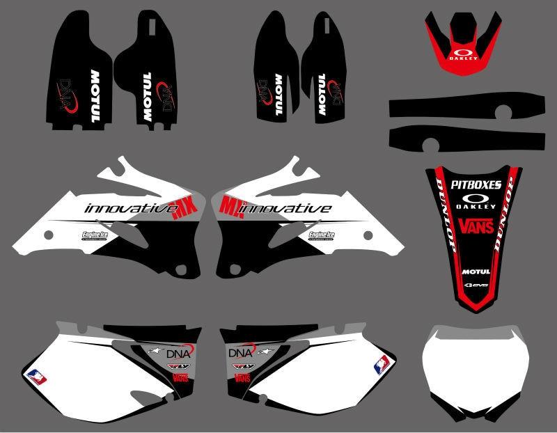 0016 Noir et Blanc Style ÉQUIPE GRAPHICS & MILIEUX DÉCALQUES voiture Kits Pour Yamaha YZ250F YZ450F 2006 2007 2008 2009 YZ 250F 450F