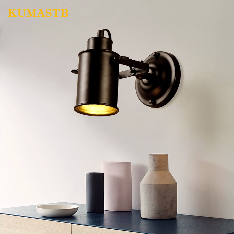American Country Retro Vintage Lamp Industrial Wall Lamp Corridor Aisle Bar Cafe Bedroom Lighting Staris Sconce american country industrial retro bar cafe wall lamp wall lamp iron double balcony aisle