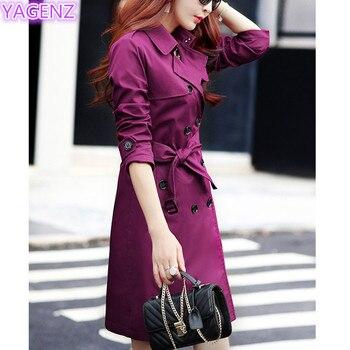 YAGENZ Plus size Trench Coat Autumn Coat Women Long Coats Windbreaker Top Double-breasted Boutique Women Clothing Fashion Coat88 2