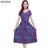 OKXGNZ Summer Dress 2017Fashion Middle Aged Mother Printed Long Dress Round Neck Short Sleeve Sexy Plus