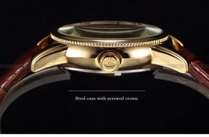 Image 3 - 男性腕時計高級ゴールデンスケルトン機械式スチームパンク男性時計自動腕時計革ストラップヘレン Horloges