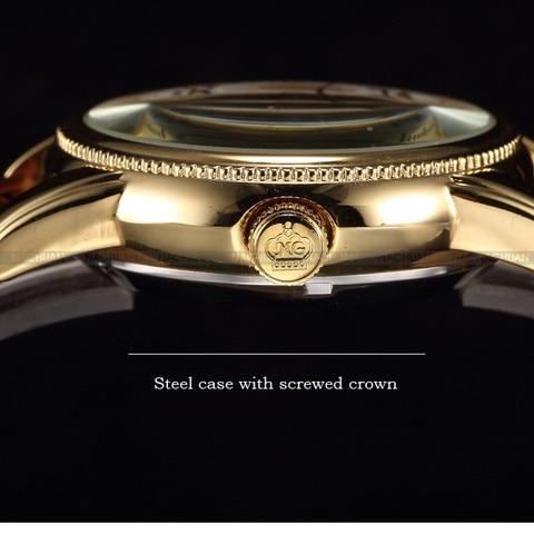 Men Wrist Watches Luxury Golden Skeleton Mechanical Steampunk Male Clock Automatic Wristwatch Leather Strap Herren Horloges Karachi