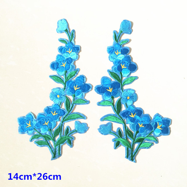Free shipping nice blue flower patch embroidered iron on patches for clothing sticker garment appliques diy