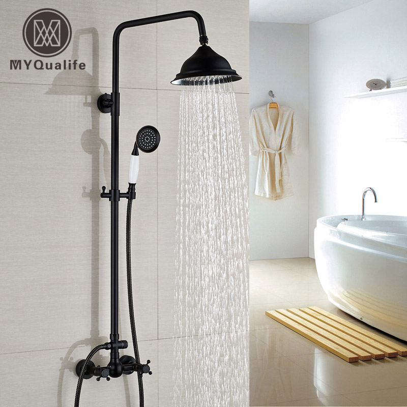 Oil Rubbed Bronze Bath Shower Faucet Set 8 Rain Shower Head + Hand Shower Spray Wall Mounted