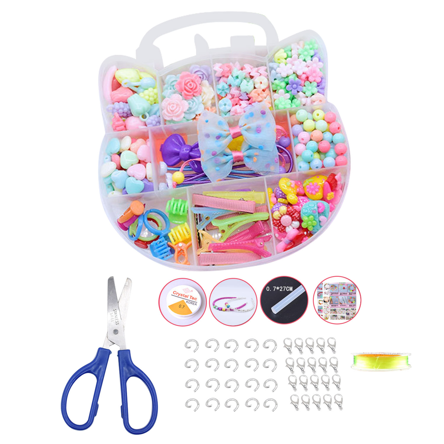 243Pcs Different Types Plastic DIY Beads Set Kit Cute Fashion Decorative Toy Gift Kid Children Girl Bracelet Necklace Making Toy