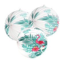 "Flamingo Decoration Hawaiian Party 3pcs 9"" Accordion Paper Lanterns With Palm Tree Leaves For Luau Pool Tropical Summer Party(China)"
