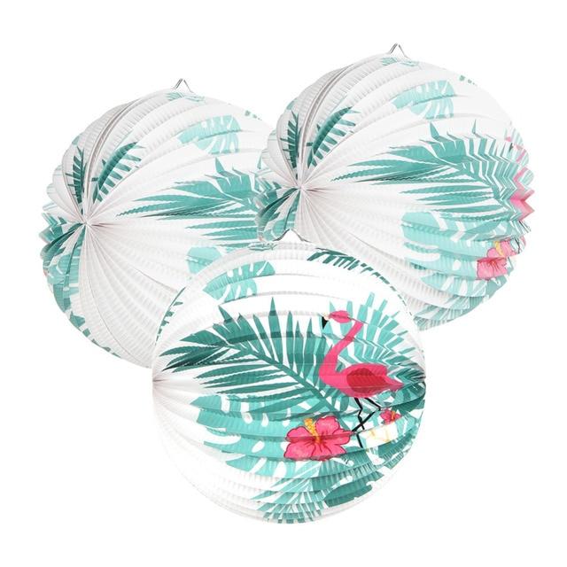 """Flamingo Trang Trí Hawaii Đảng 3 pcs 9 """"Accordion Đèn Lồng Giấy Với Lá Cây Cọ Cho Luau Hồ Bơi Nhiệt Đới Mùa Hè đảng"""