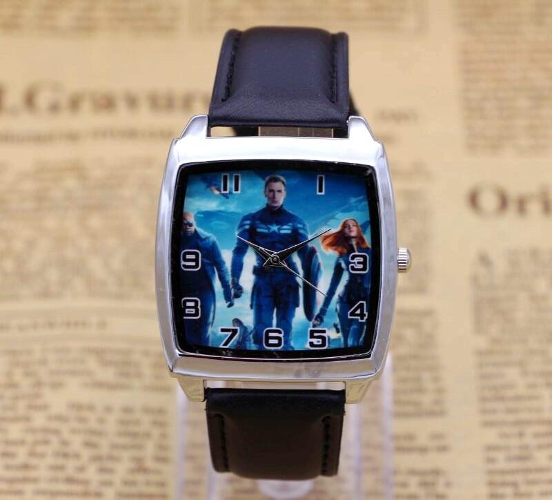 Hot Captain American BOYS Cartoon Watch Lovely Girl Children Watches PU Strap Quartz Wristwatch Kids Dress Rectangular Clock