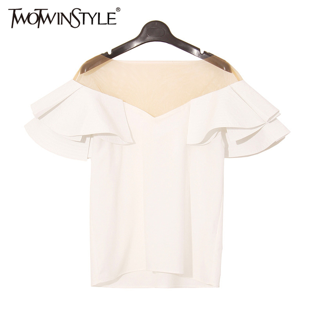 [TWOTWINSTYLE] 2017 Spring Ruffles Sleeve Spliced See Through Mash Sex Ladies T shirt Women Tops New Fashion Clothing