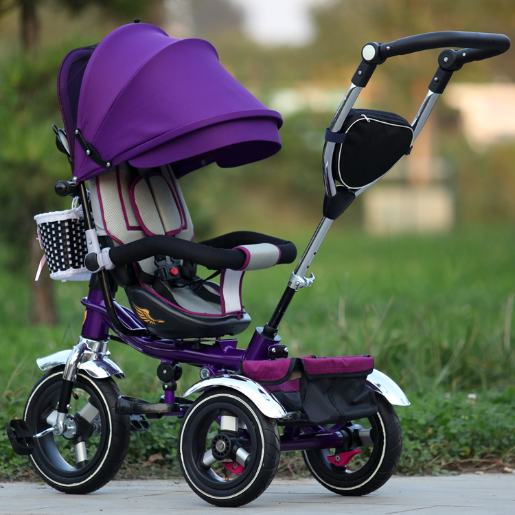 Children's Tricycle Stroller Foldable Baby Cart Kis Blike Three Whell Stroller Rotating Seat Reclining Baby Bicycle 6M-5Y
