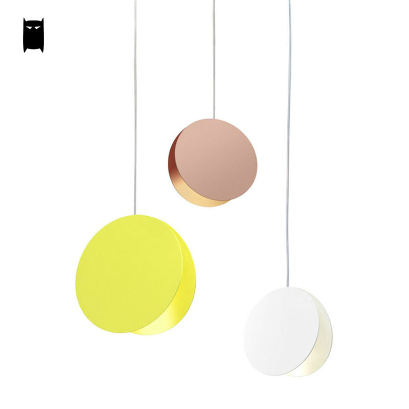 Yellow White Coffee Flying Disk Pendant Light Fixture Modern Art Deco Nordic Hanging Lamp Luminaria Design Dining Table Room Bar - 5