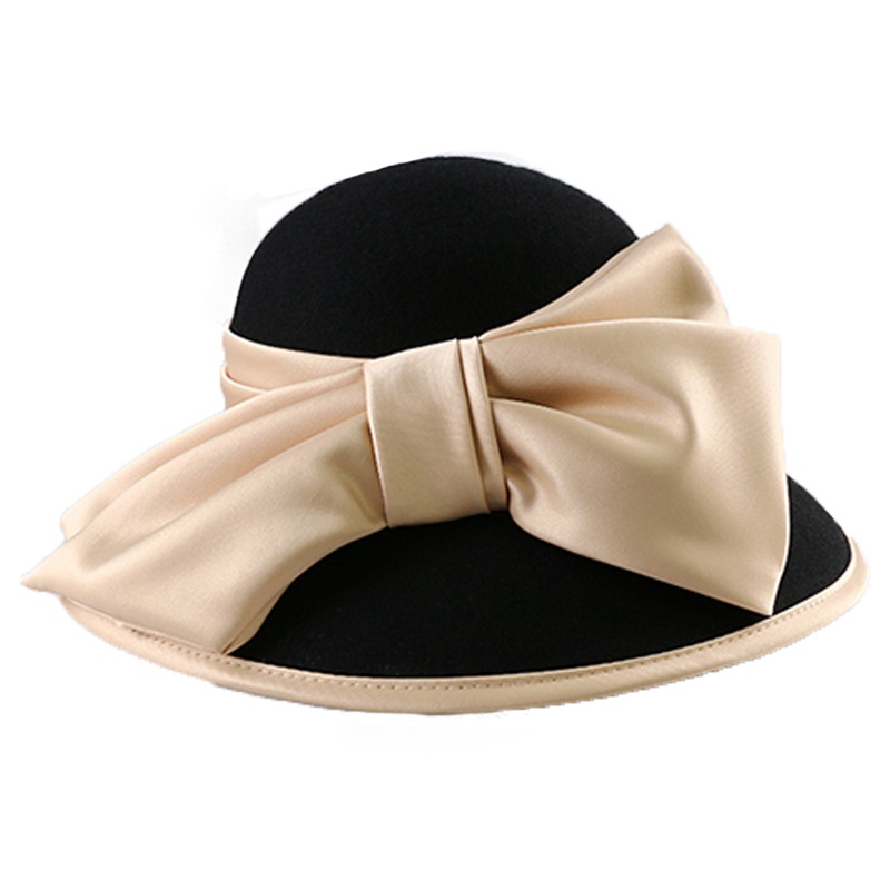 FS Vintage Black Women Winter Fedora 100% Australian Wool Cloche Hats Female Wide Brim Felt Hat Ladies Bowknot For Church Caps
