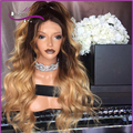 7A Full lace human hair wigs #4/#613  brown to blonde ombre wigs with baby hair lace front human hair wigs two tone Ombre wigs